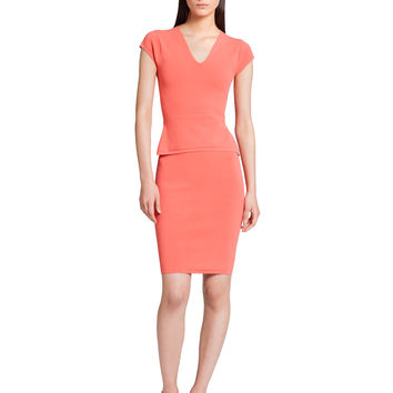Narciso Rodriguez Structured Knit Peplum Dress - Coral
