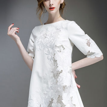 White Half Sleeve Embroidered Mini Dress
