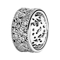 Women's PANDORA 'Shimmering Leaves' Ring - Silver/ Clear