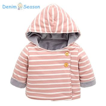 Denim Season 0-24m Newborn Baby Clothes Cotton Warm Fantasia Baby Coat Boy Hooded Striped Baby Girl Christmas Winter Outerwear