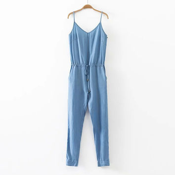 Summer Zippers Chain Denim Spaghetti Strap Women's Fashion Jumpsuit [4905585732]