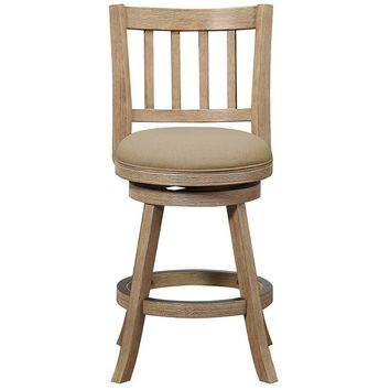 """24"""" Sheldon Counter Stool, Driftwood Gray Wire-brush and Oatmeal"""