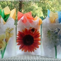 Set of 3 Large Floral Gift Wrap Bags with Matching Tissue Paper