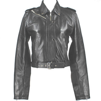 Kixters Tabitha - Black Leather Cropped Belted Motorcycle Jacket