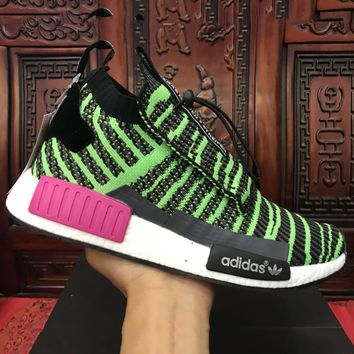 Adidas NMD Knit High Tops Green Double tongue Fashion Trending Running Sports Shoes