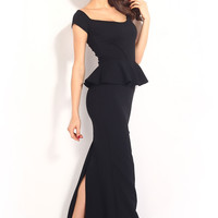 Drop shoulder Black Peplum Maxi Formal Dress