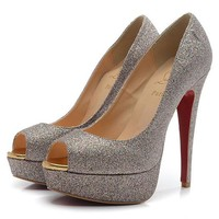 Christian Louboutin Fashion Edgy Sequin Red Sole Heels Shoes