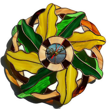 Designer Wall Clock Fall Oak Leaves Wreath, Unique Stained Glass Autumn Wall Decor, Country Wall Art yellow and green, Home Decor Wall Clock