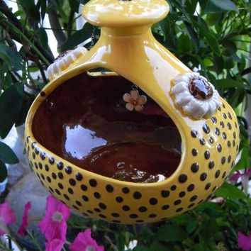 Hanging Bird Feeder 2 sided planter Terrarium  ..ash try .. Ceramic Pottery planter ((( Ready to Ship ) Fall Sunflowers
