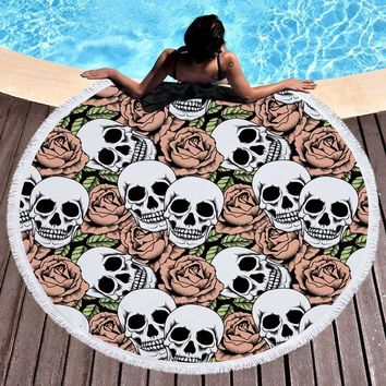 Large Round Beach Towel Skull Printed 150CM High Quality Microfiber Girls Bath Towels Yoga Circle Sport Towel Mat With Tassels