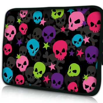 "Colorful Skull 10"" Laptop Bag Case Cover For 10.1"" Asus Transformer Pad"