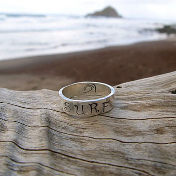 Surf Ring, Sterling Silver, Hand Stamped Jewelry, Surfer, Wave, Thick 5mm, Unisex, Mens, Hawaii, Hammered, Handmade, Gift for Her