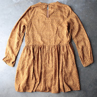 [womens contemporary] breezy long sleeve babydoll dress - mustard