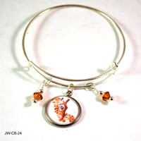 Giraffe Mother and Baby Bangle Bracelet with Charms and Swarovski Crystals