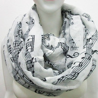 2016 New Fashion White Music Note Sheet Music Piano Notes Script Print Scarves White Infinity Scarf (Color: White) [8919847879]