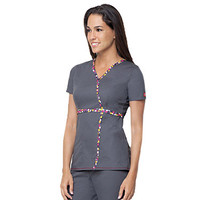 Love Your Color by Dickies Women's Junior Fit Mock Wrap Solid Scrub Top