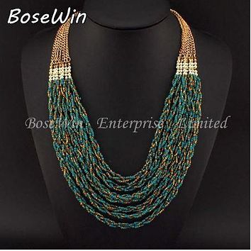Handmade 7 Strand Twist Multi Layer Seed Bead Necklace