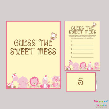 Girl Safari Baby Shower Diaper Candy Bar Game Printable Guess The Sweet Mess - Game Cards, Sign and Labels Candy Bar Diaper Game - BS0001-P