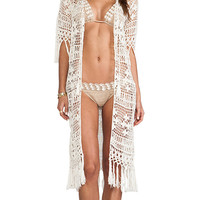 Anna Kosturova Tassel Duster in Cream