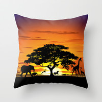 Wild Animals on African Savannah Sunset  Throw Pillow by Bluedarkat Lem