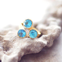 golden london blue topaz sparkle triple faceted ring