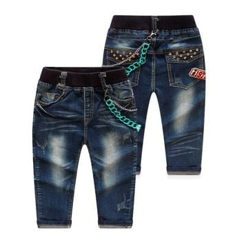 Spring/Autumn Brief Unique Boys Jeans Denim Kids Pants Trousers Toddlers Baby Clothes New 2018 T/6010DBO