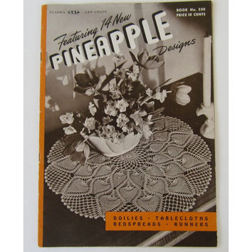 Vintage 1946 Crochet Pattern Book 14 New Pineapple Designs Doilies  230 Clarks