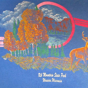 Vintage 80s Autumn DEER Rib Mountain WISCONSIN State Park Wildlife Outdoor T Shirt Sz M