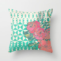 Triangles & Roses  Throw Pillow by micklyn