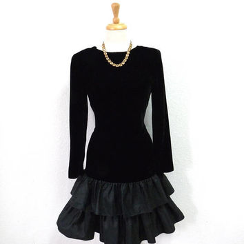 Vintage Dress Black Velvet Drop waist Ruffle Skirt Cocktail Party Dress Size 10