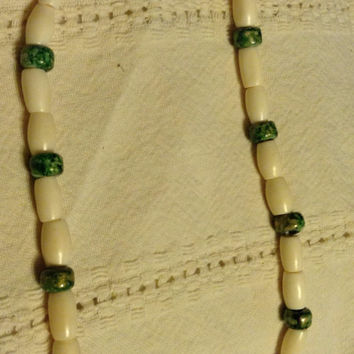 Necklace bone glass
