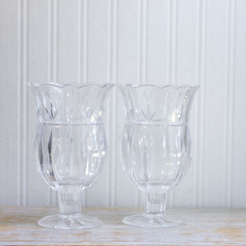 Vintage Hurricane Candle Holders - Block Crystal Tulip Garden Vases