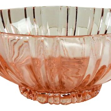 Pink Depression Glass Vintage Serving Bowl