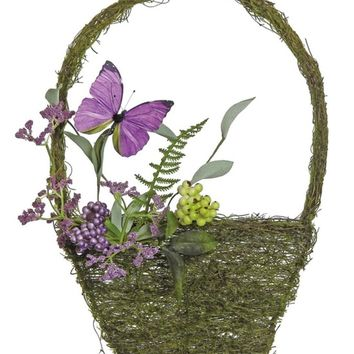 """15"""" Purple and Green Mixed Berry and Butterfly Artificial Wall Basket Decoration"""