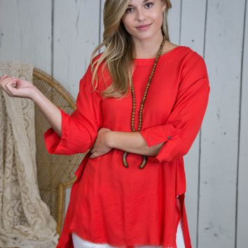 Mildred Frayed Hem Top, Red