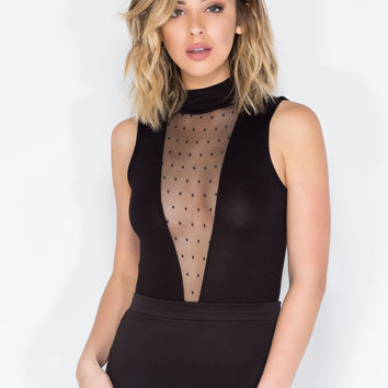 Deep In Thought Sheer Inset Bodysuit