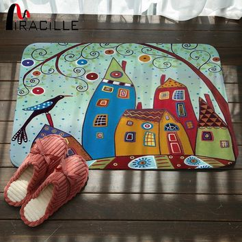 Autumn Fall welcome door mat doormat Miracille Coral Velvet Bathroom Non Slip Rugs Abstract Building and Tree Printed s for Kitchen Stair Carpet Bath Decor AT_76_7