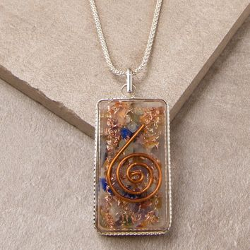 Chakra Orgone Healing Necklace - 24 inch Silver Chain