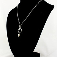 Sterling Silver Women's Necklace with Handcrafted Spiral Pendant, Wore Necklace, Gift for HER, Wire Jewelry, Pendant, Pearl Necklace