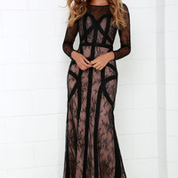 Bariano Right as Reign Beige and Black Lace Maxi Dress