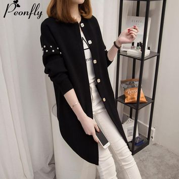 PEONFLY Clothes 2018 Autumn  winter Cardigan Jacket Knitted Sweaters Women Coat Cardigans Female Girls Long Knitting Loose Coat
