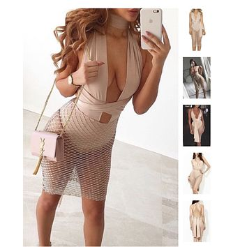 Nude Multiway Dress With Lattice Skirt