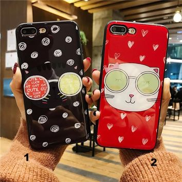 Cute cat Glass texture mobile phone case for iPhone X 7 7plus 8 8plus iPhone6 6s plus -171212