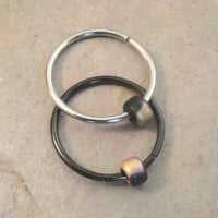 Gold and Black Beaded Cartilage Hoop Earring Septum Tragus Nose Ring Upper Ear Piercing 20 Gauge