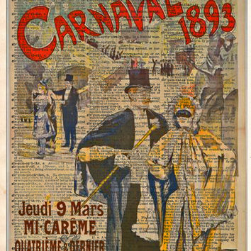Carnaval Masquerade ball poster 1893, vintage opera art, Theatre sign, vintage dictionary art print
