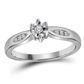 Sterling Silver Womens Round Diamond Solitaire Bridal Wedding Engagement Ring 1/20 Cttw - Size 9