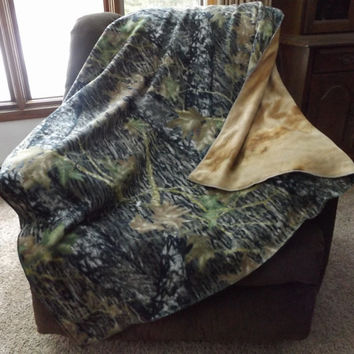 Forest Camo Print Double Layer Fleece Blanket or Throw, 2 Layer, Lap Blanket, Stadium Blanket