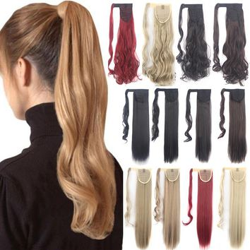 18/24Inch Clip in Hair Extension Pony Tail Wrap Around Ponytail Extensions Long Ponytail Hairpiece