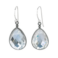 Pear Shaped Faceted Rock Crystal Drop Earrings Set In Black Rhodium Plated Sterling Silver