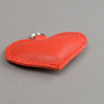 Handmade heart shaped leather keychain Fashion accessories Gift ideas